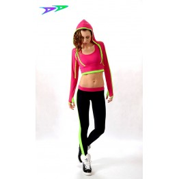Лосины DjenDance Active (Black-Lime-Pink)
